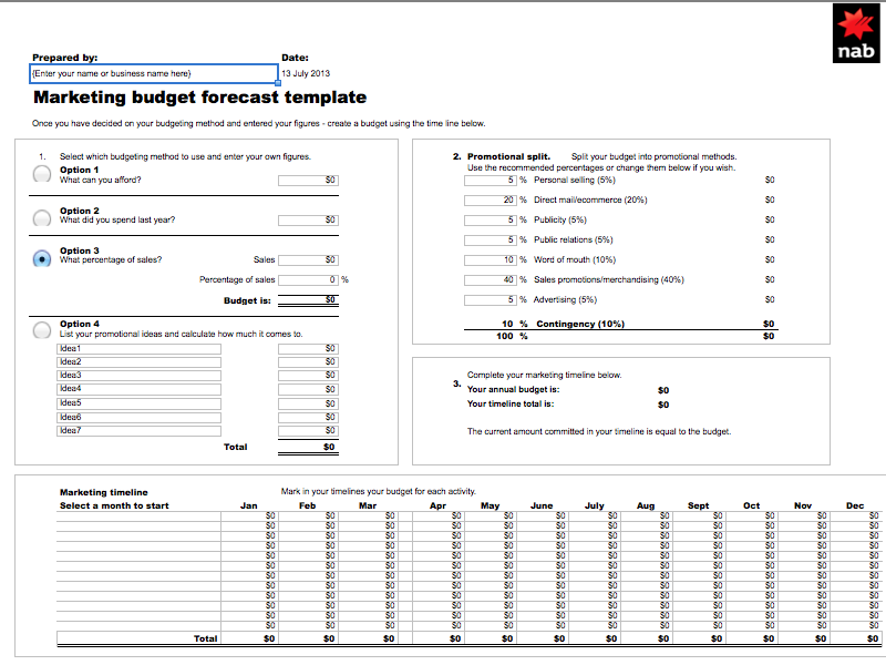 Free Marketing Budget Templates Marketingcomau - Budget for business plan template