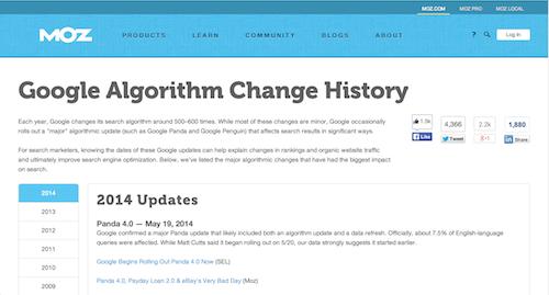 Moz Algorithm History