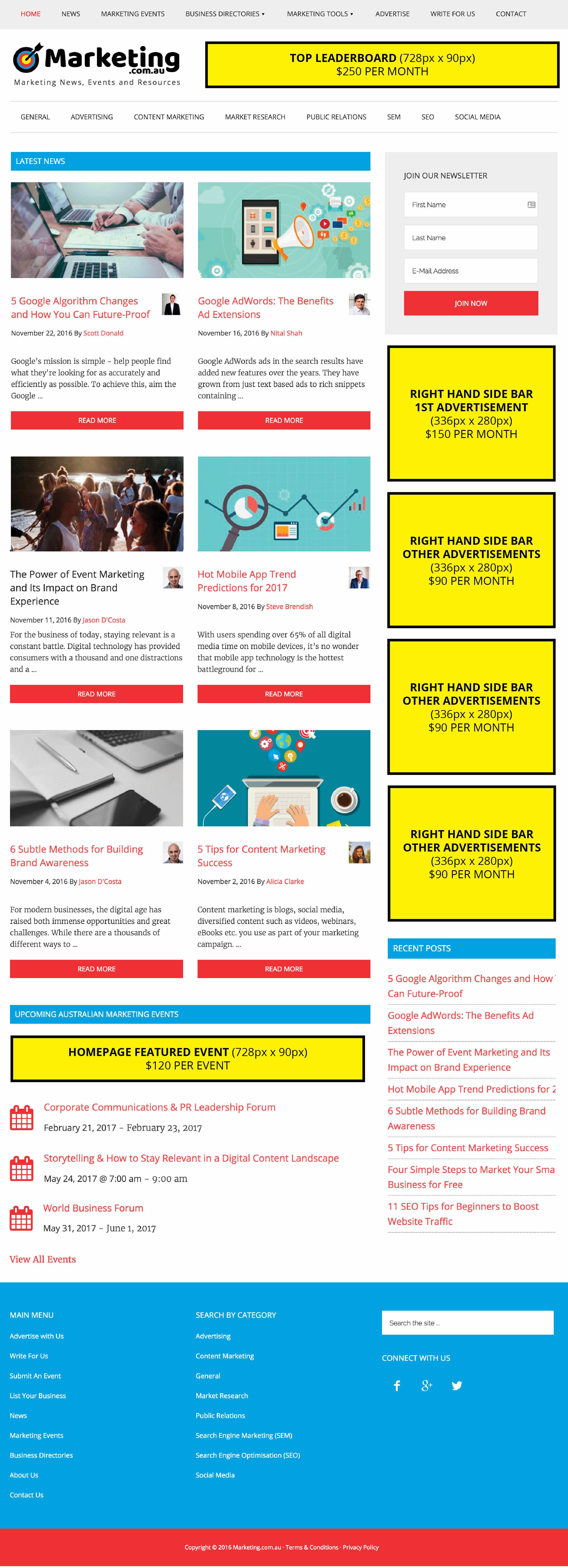 marketing com au media kit homepage
