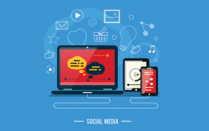 vector of multiple devices and social media tools