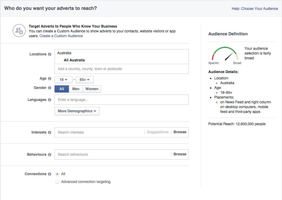 facebook adverts demographics targeting