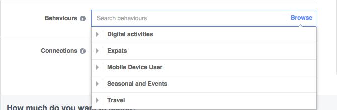 facebook adverts behaviours