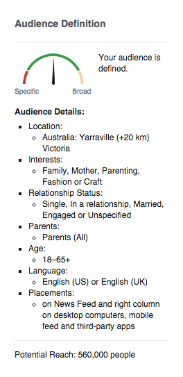facebook adverts audience definition