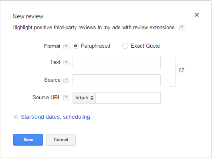 Review Extension dialog box