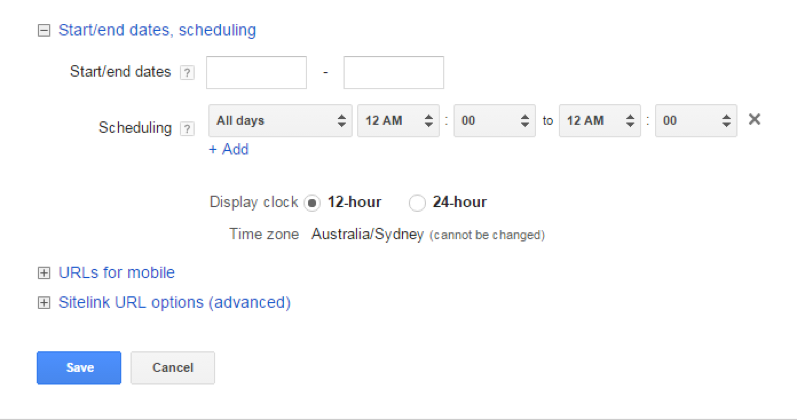 Scheduling the Ad Extensions