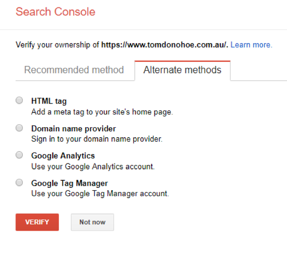Google Search Console Verification Methods