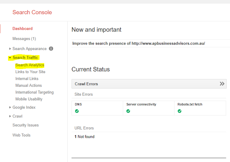 Google Search Console Key Words Research