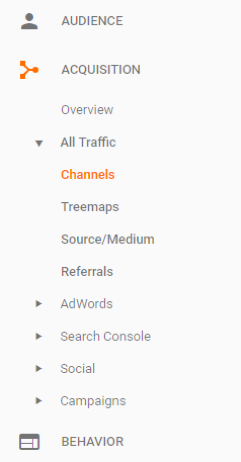 google analytics side menu