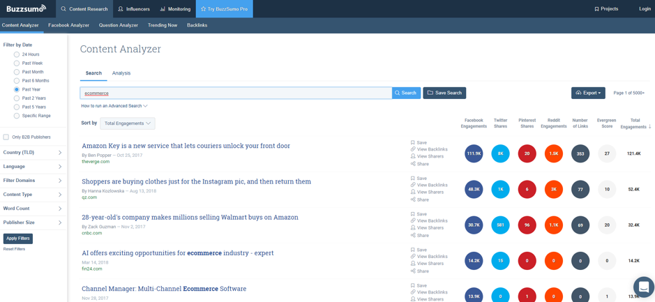 BuzzSumo Screenshot